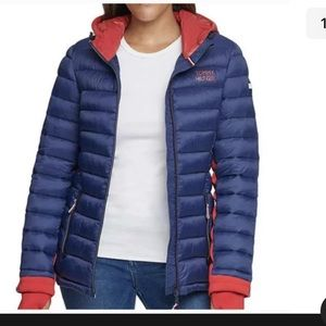 NEW TOMMY HILFIGER PUFFER COAT HOODED SMALL Navy